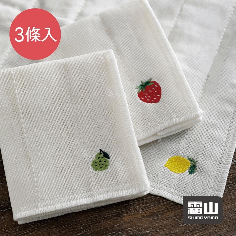 日本霜山 棉紗水果刺繡風加厚吸水去汙抹布(30x30cm)-3條入