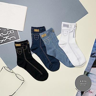 阿華有事嗎 韓國襪子 個性牛仔褲中筒襪 韓妞必備長襪 正韓百搭純棉襪