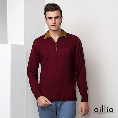 歐洲貴族 oillio 長袖毛衣 紳士立領 素面毛衣 紅色