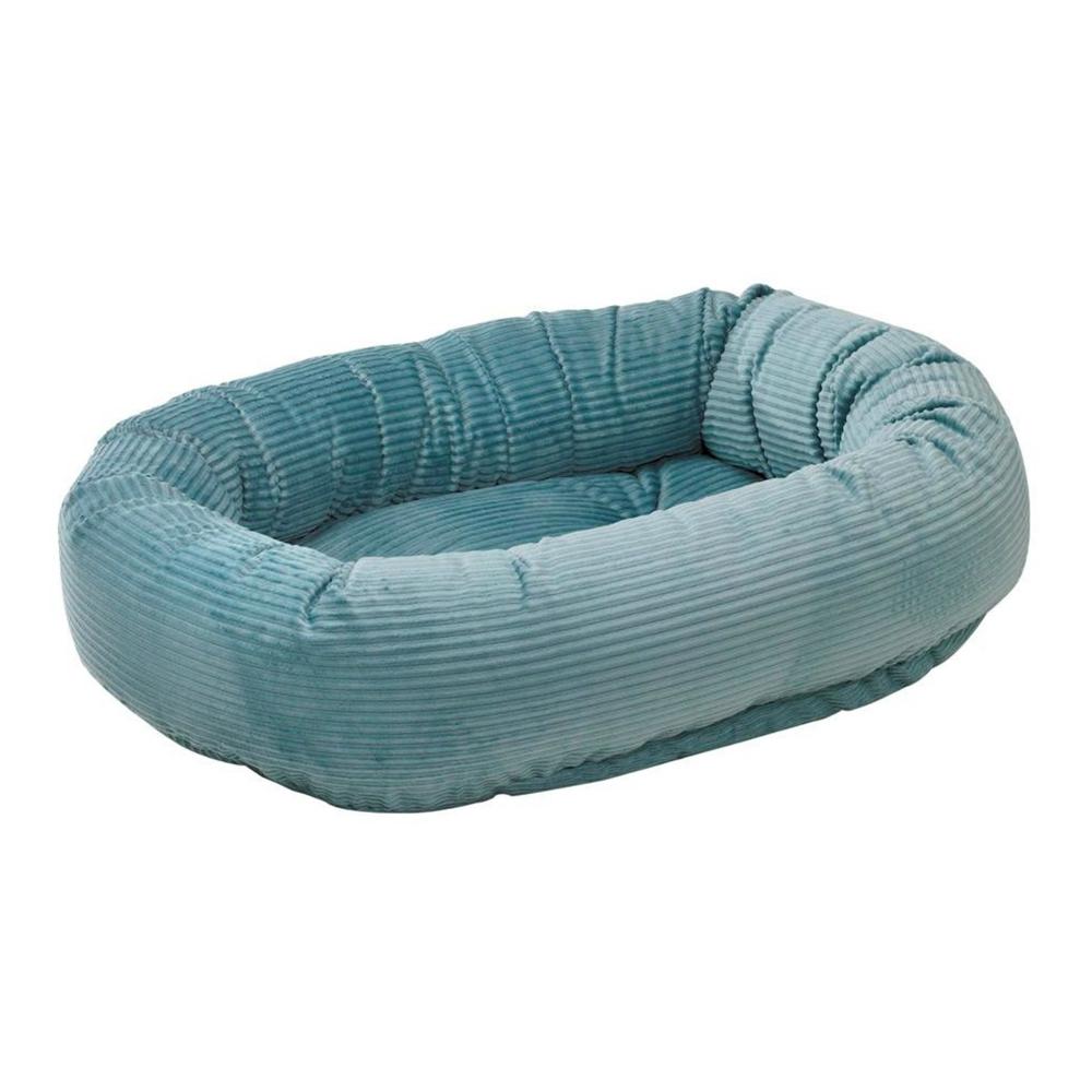 BOWSERS甜甜圈極適寵物床-水藍燈芯絨L