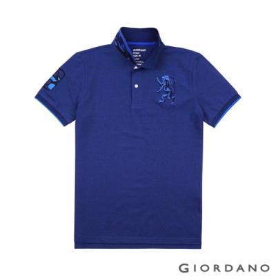 GIORDANO 男裝勝利獅王刺繡迷彩彈力萊卡POLO衫 -17 雪花深鯨魚藍色