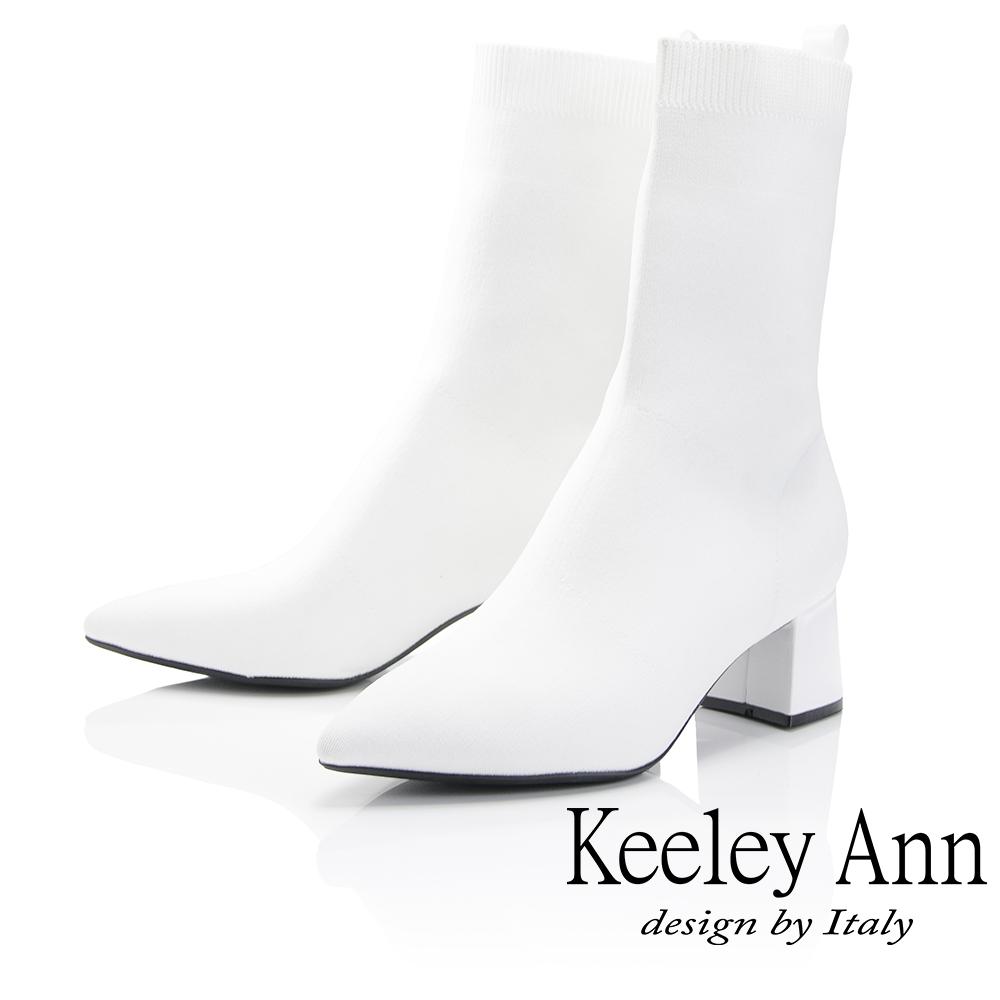 Keeley Ann 俐落時尚~素面透氣布粗跟中筒靴(白色-Ann)