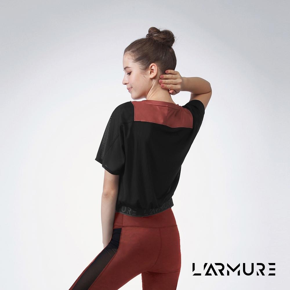 L'ARMURE 女裝 短版 網紗拼接 上衣 古銅金