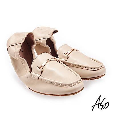 A.S.O輕履鞋 小羊皮簡約飾釦可折疊穆勒鞋 卡其