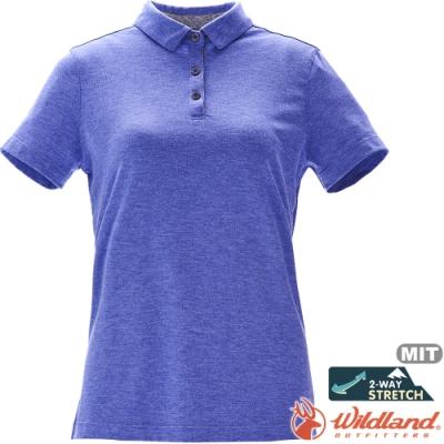 Wildland 荒野 0A71639-52海藍色 女彈性抗UV本布領POLO上衣