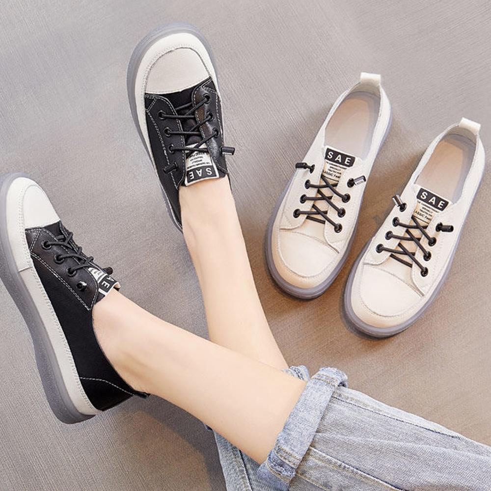 LN  現+預 韓版免綁牛筋軟底小白鞋(免繫帶/休閒鞋) (黑色)