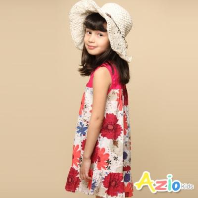 Azio 女童 洋裝 拼接大紅花無袖背釦洋裝(紅)