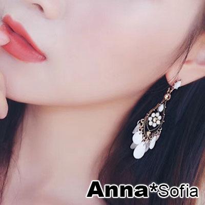 AnnaSofia 波希米亞光滴珠 925銀針耳針耳環(金系)