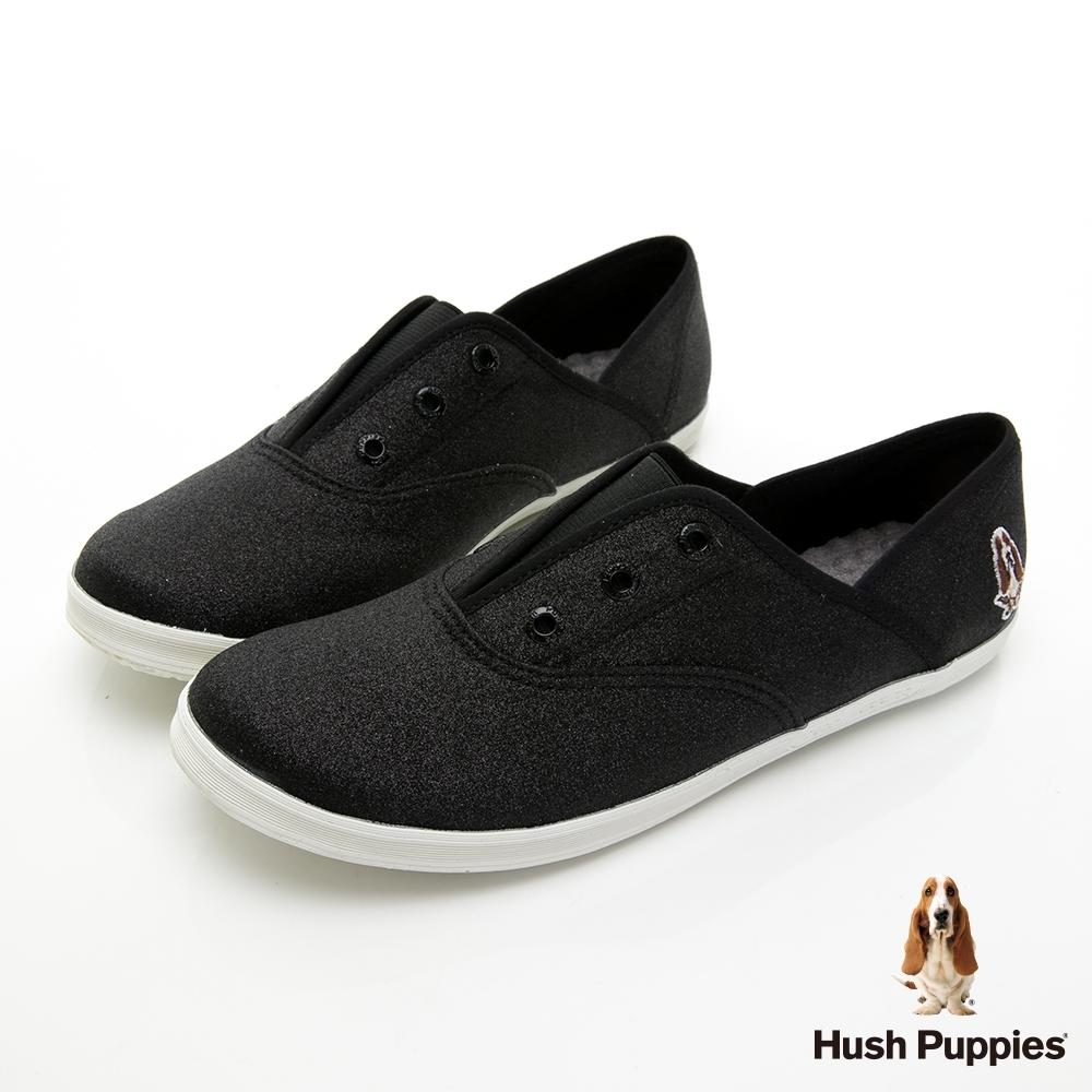 Hush Puppies 閃耀咖啡紗懶人帆布鞋-黑