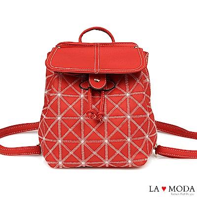 La Moda 輕巧便攜車線菱格紋可愛後背包(紅)
