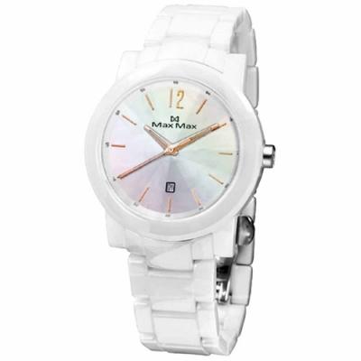Max Max 魅力風華日期陶瓷腕錶-白玫瑰金-MAS5080-W7-38mm