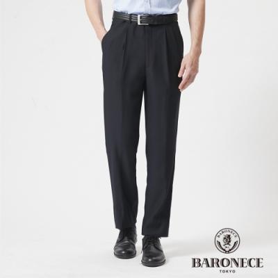 BARONECE 百諾禮士休閒商務  男裝 冰涼組織打褶西裝褲--深藍色(1188856-39)