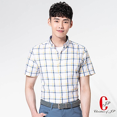 Christian 頂級棉料格子休閒襯衫_黄藍格(RS835-35)