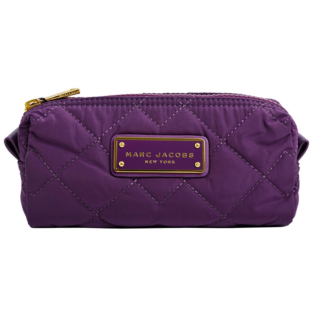 MARC JACOBS LOGO飾牌輕量尼龍菱格紋化妝包-紫/大