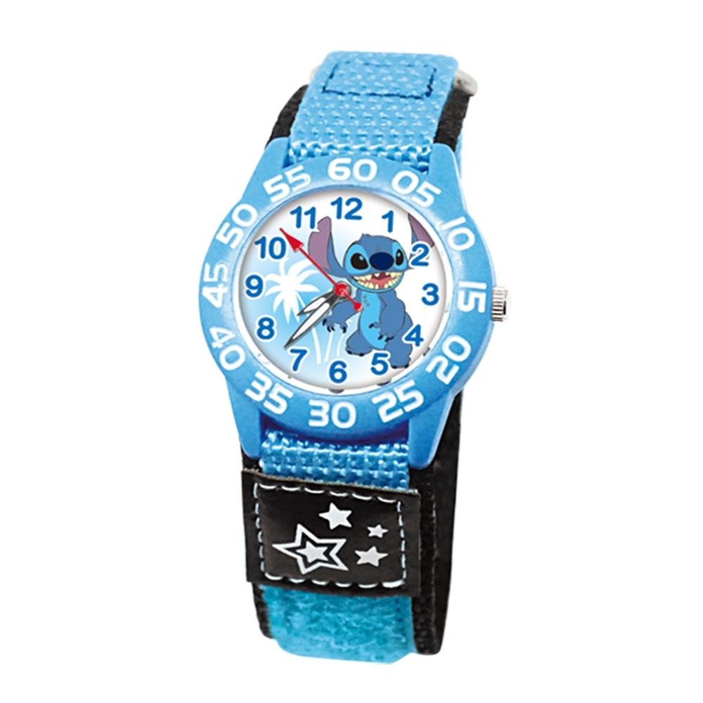 DISNEY迪士尼 自黏休閒織帶手錶星際寶貝史迪奇33mm藍色