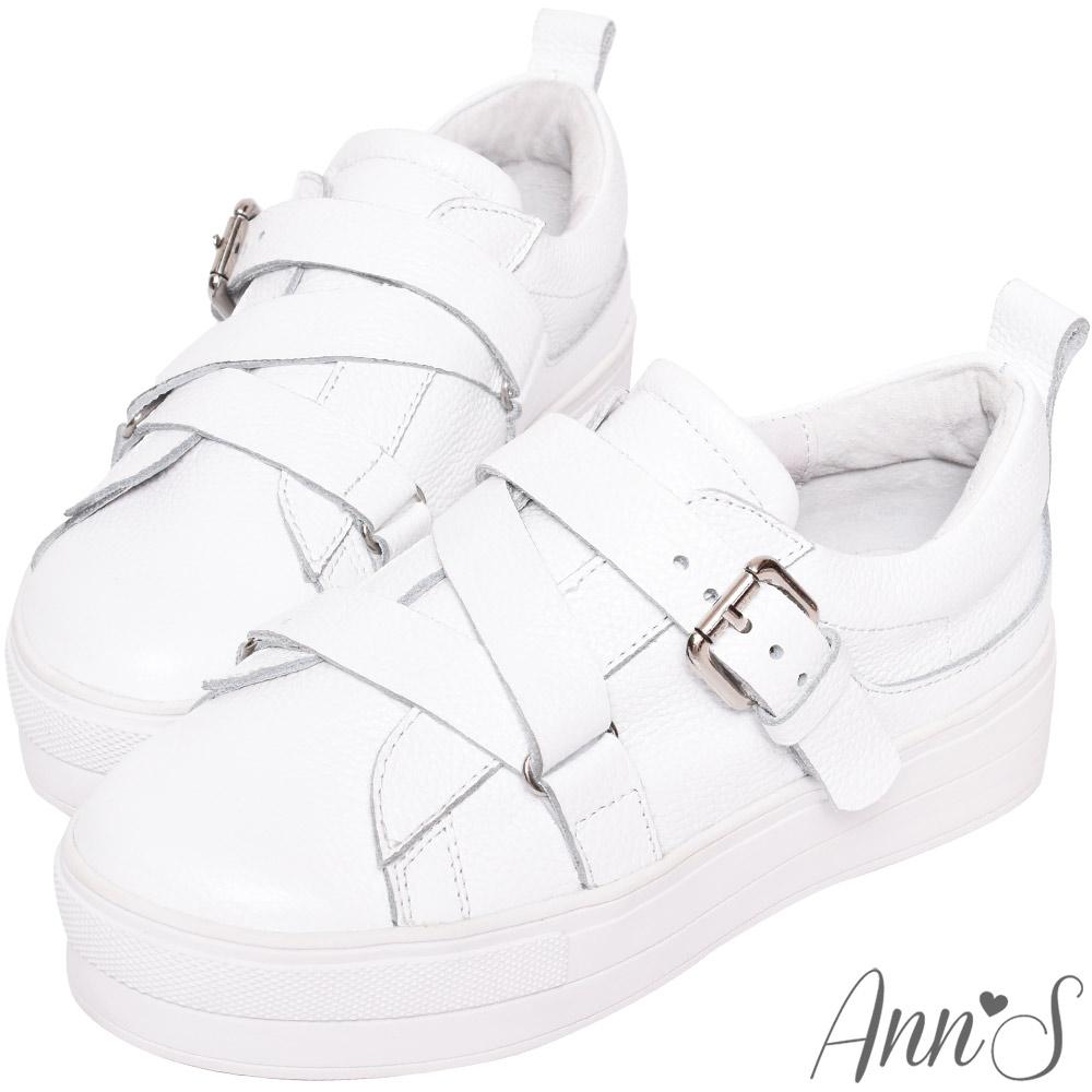 Ann'S激瘦第三代!!!全真牛皮Z繞帶厚底小白鞋-白