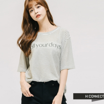 H:CONNECT 韓國品牌 女裝 -透膚條紋文字設計T-Shirt-綠