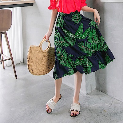 渡假感滿版樹葉印花下襬荷葉拼接中長裙-OB大尺碼