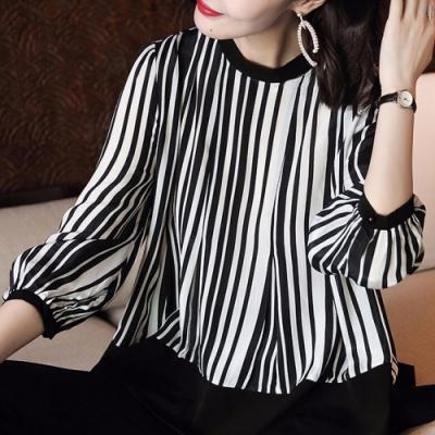 初色  時尚不規則豎條紋雪紡衫-黑白條紋-(M-2XL可選)