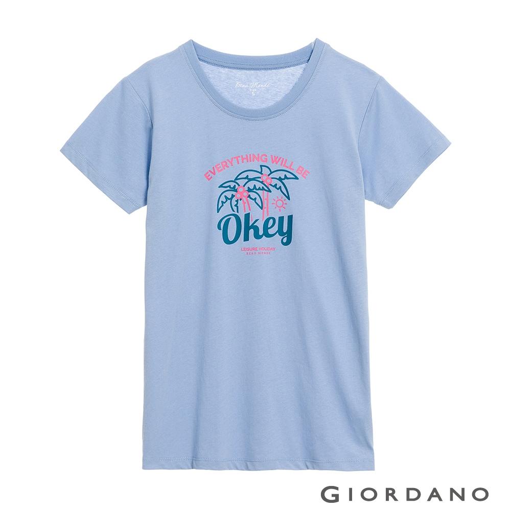 GIORDANO 女裝夏日風情印花T恤 - 09 永恆藍