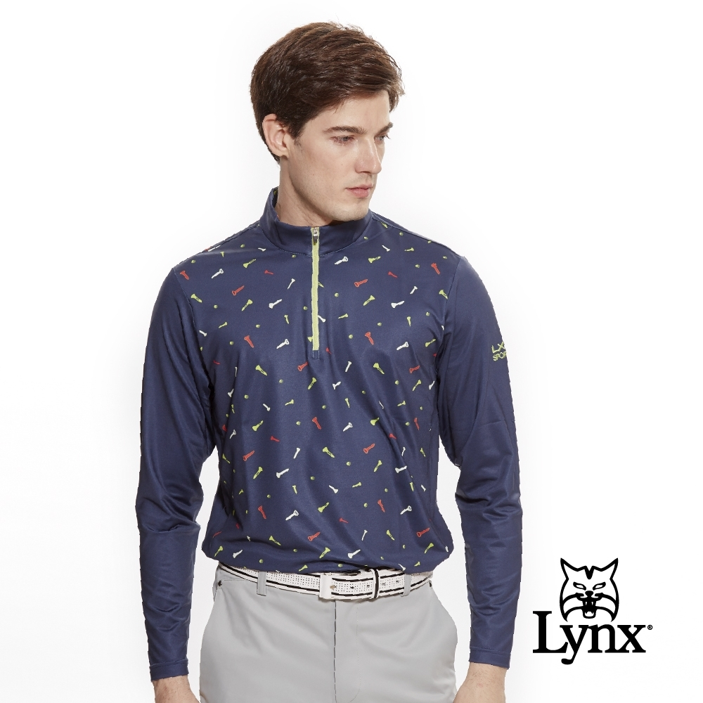 【Lynx Golf】男款吸汗速乾滿板球釘印刷長袖立領POLO衫-深藍色