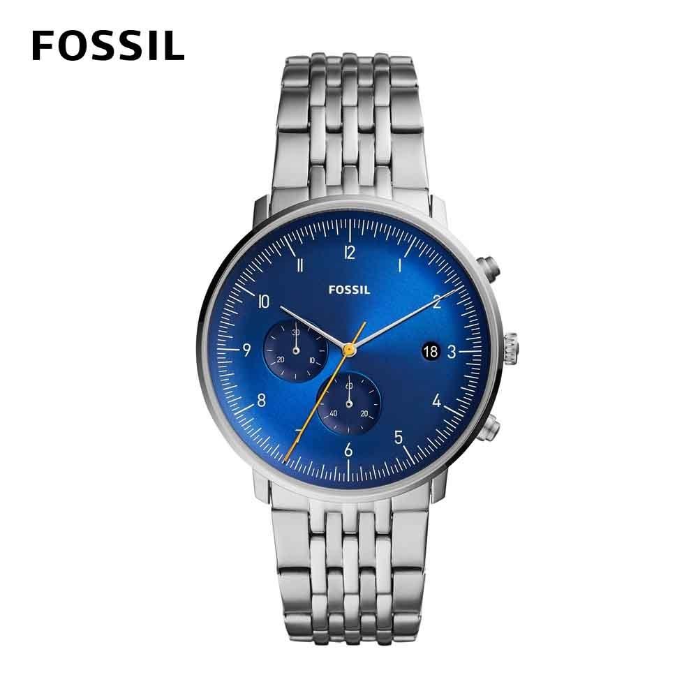 FOSSIL Chase Timer 追時者憂藍男錶 銀色不鏽鋼鏈帶 42MM FS5542