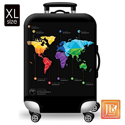 繽紛行李箱套-世界地圖XL