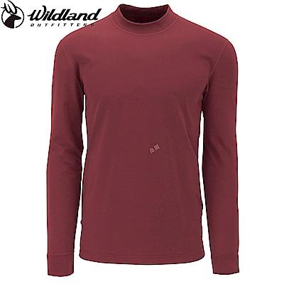 【Wildland 荒野】男遠紅外線彈性保暖衣暗紅