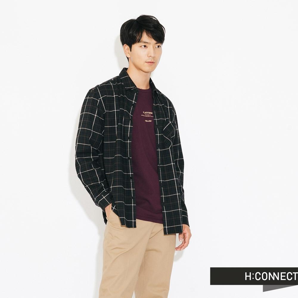 H:CONNECT 韓國品牌 男裝-簡約格紋單口袋襯衫-藍