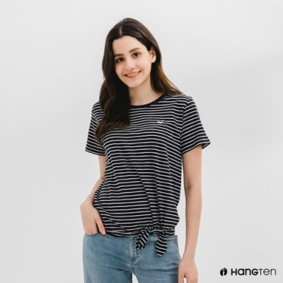 Hang Ten-女裝-有機棉鯨魚刺繡下擺綁結條紋短袖T恤-藍白條紋