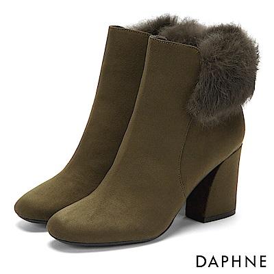 達芙妮DAPHNE 短靴-復古方頭佐優雅毛毛馬蹄跟短靴-橄欖綠