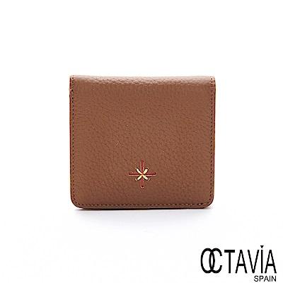 OCTAVIA8 真皮 -小星光 十字縫線方型單折牛皮簡約短夾 - 巨蟹棕