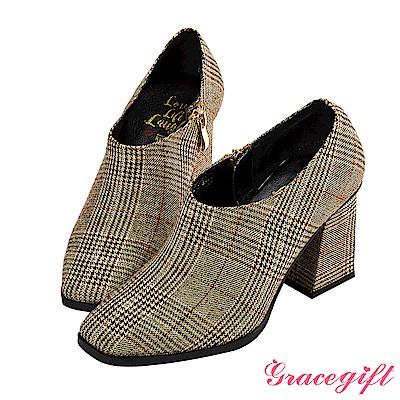 Grace gift X Kerina妞妞-方頭設計感踝靴 格紋