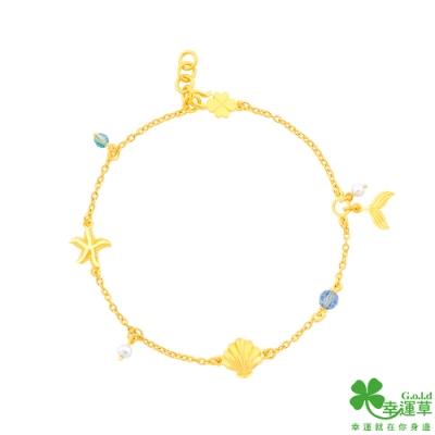 幸運草金飾 藍色傳說黃金/水晶/淡水珍珠手鍊