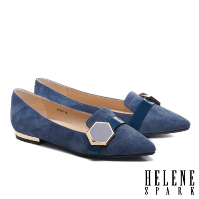 平底鞋 HELENE SPARK 時尚質感六角飾釦全真皮尖頭平底鞋-藍