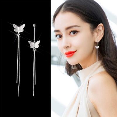 梨花HaNA 無耳洞韓國蝴蝶不對稱比翼流蘇耳環夾式