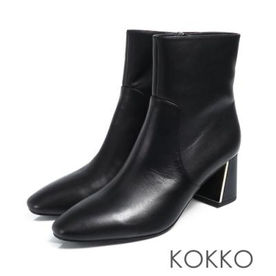 KOKKO - 限量訂製方頭牛皮鏡面粗跟 - 芝麻黑