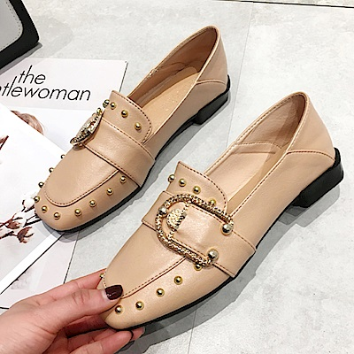 韓國KW美鞋館 搶鮮購文藝氣質素雅平底鞋-黃色