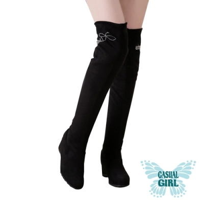 Casual Girl「夢幻美腿」內增高伸縮膝上靴 (水鑽)