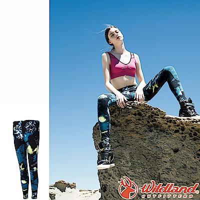 Wildland 荒野 0A52688-46土耳其藍 女彈性保暖內搭貼腿褲
