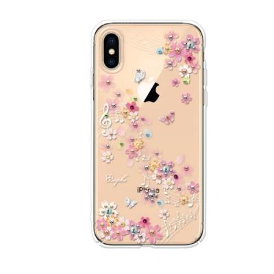 apbs iPhone XS / iPhone X 5.8吋施華洛世奇彩鑽手機殼-彩櫻蝶舞