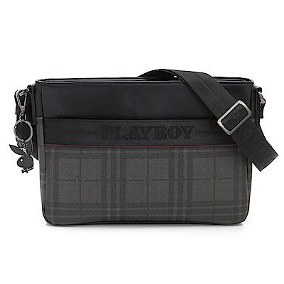 PLAYBOY- 下沉式斜背包 REMIX系列 -灰色