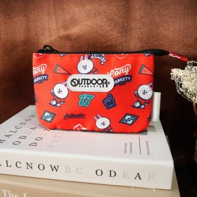 【OUTDOOR】LINE聯名款-校隊兔兔三層零錢包-紅色 ODBF20B02RD