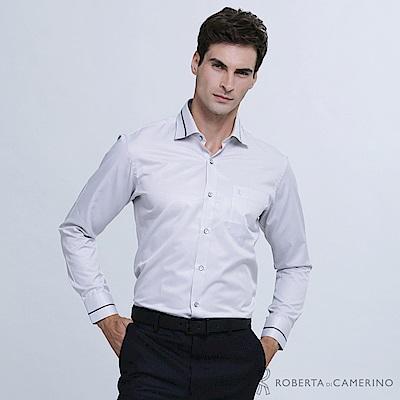 ROBERTA諾貝達 台灣製 時尚美男 合身版 長袖襯衫RDD42-92灰
