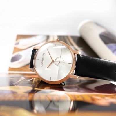CK 都會時尚 獨立小秒針 皮革手錶-銀白x玫瑰金框x黑/43mm