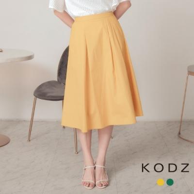 東京著衣-KODZ 輕柔時尚素面腰鬆緊傘擺長裙-S.M.L(共二色)
