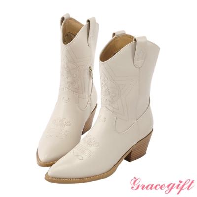 Grace gift-美戰變身器西部中跟靴 米白