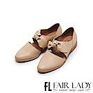 Fair Lady Hi Spring 復古甜美荔紋大扭結微縷空尖頭包鞋 卡其
