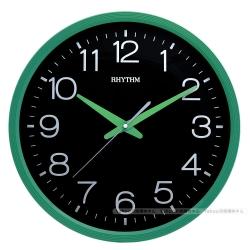 RHYTHM日本麗聲 現代簡約高CP值超靜音黑面壁掛鐘(時尚綠黑)/36cm