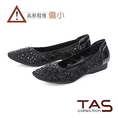 TAS 幾何水鑽造型氣質尖頭娃娃鞋-經典黑